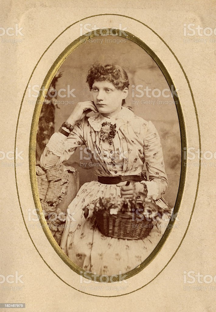 Portrait of a young lady from the Victorian era royalty-free stock photo