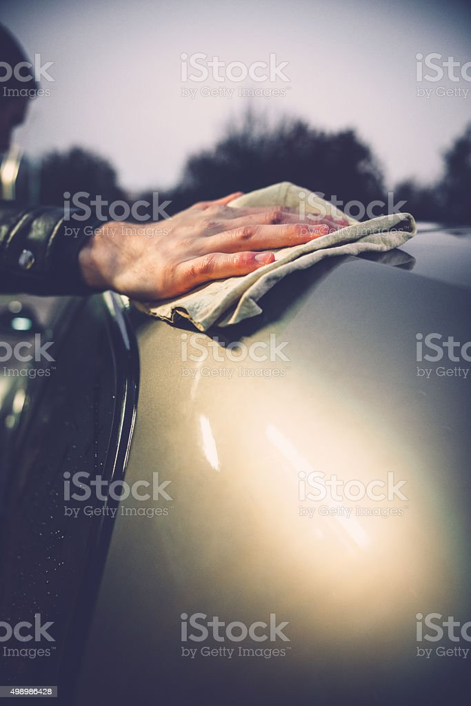 Portrait of a Young Man and his Car stock photo