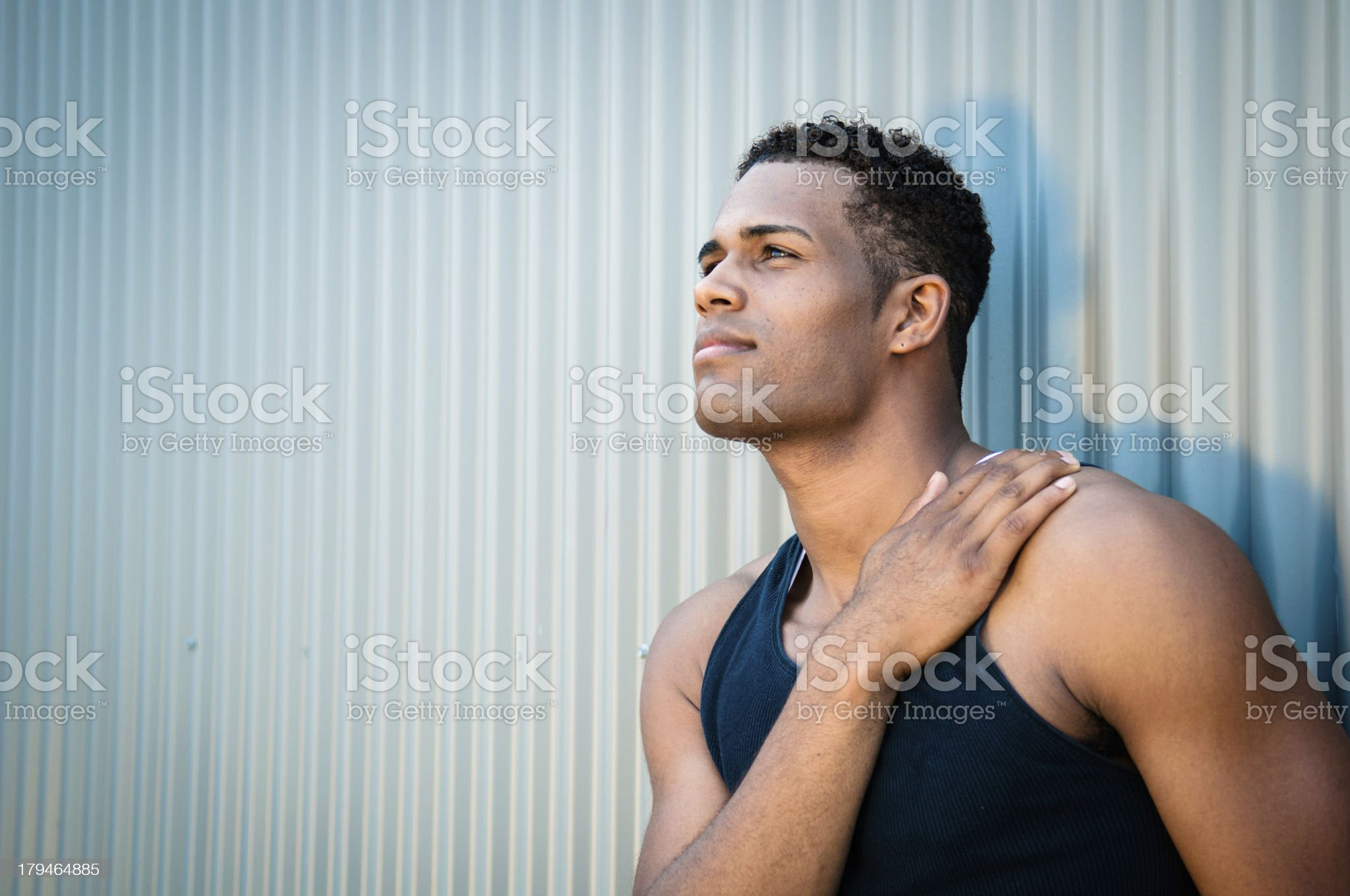 Portrait of a young man, hand on heart royalty-free stock photo