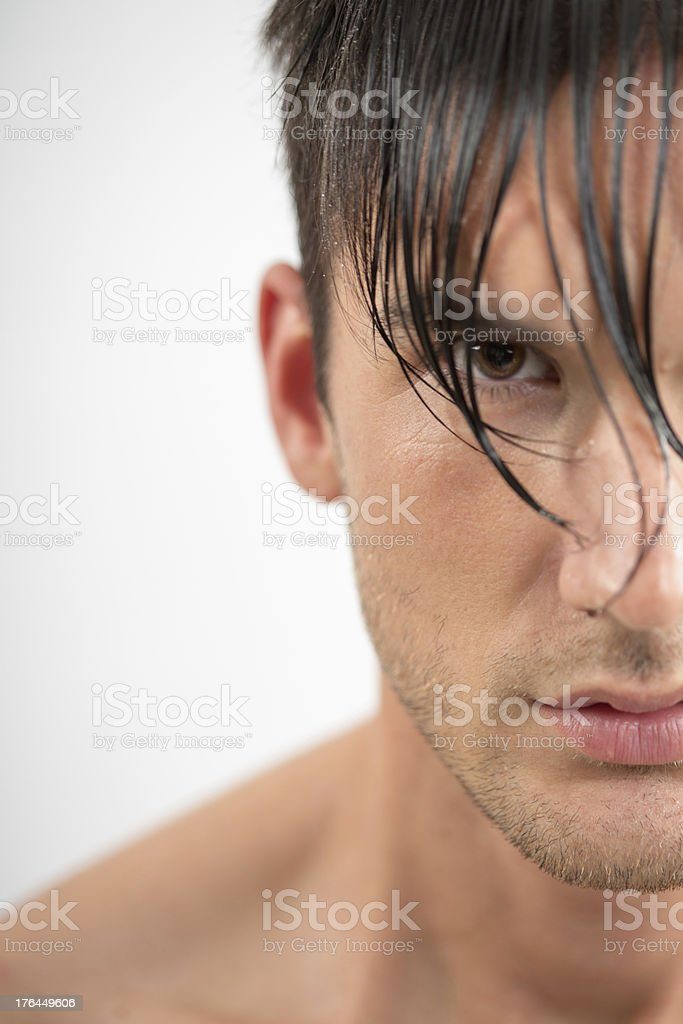 Portrait of a young man with wet hair royalty-free stock photo