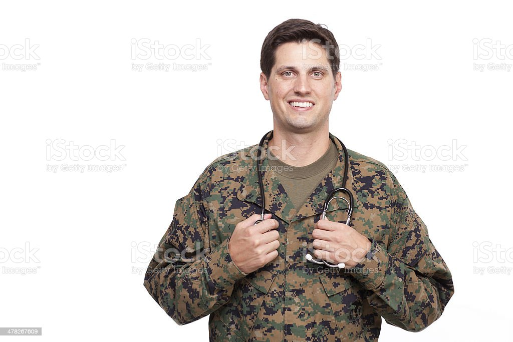 Portrait of a young military doctor with stethoscope royalty-free stock photo