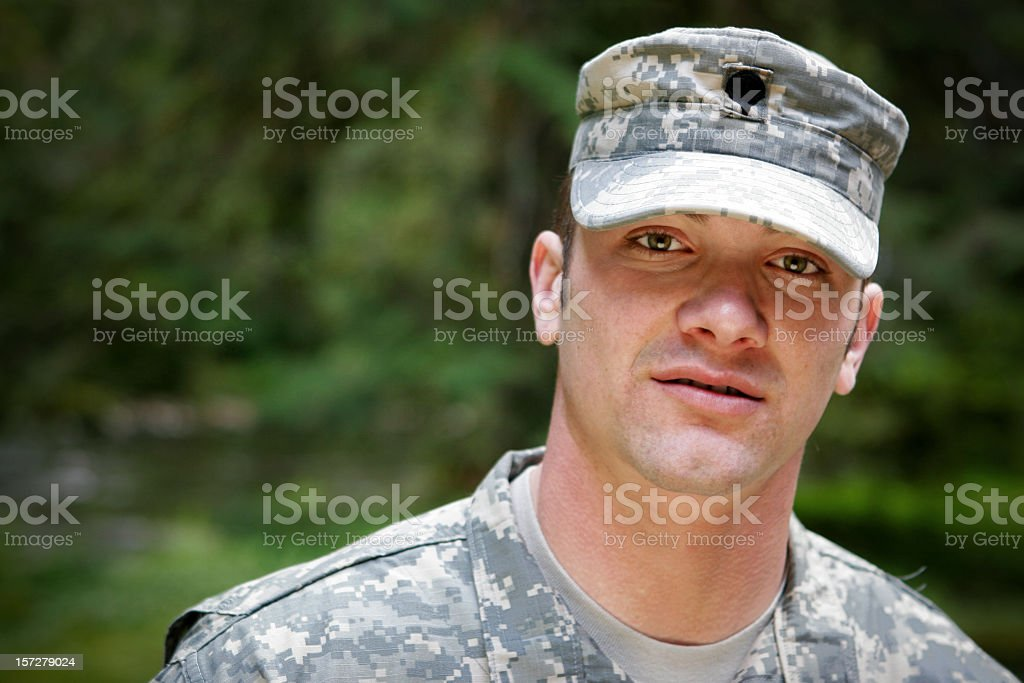 A portrait of a young military man stock photo