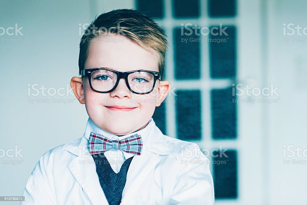 Portrait of a young scientist with glasses and bowtie stock photo