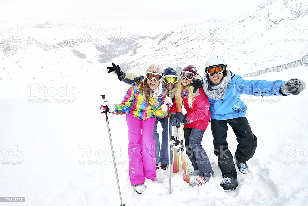 Portrait of a young skiing team royalty-free stock photo
