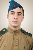 Portrait of a young Soviet soldier, ww2