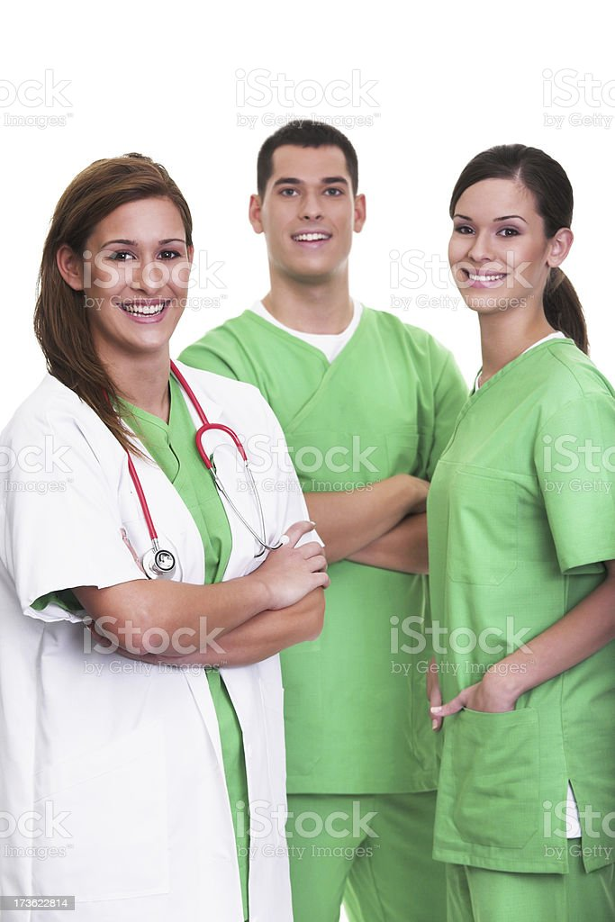 Portrait of a young surgeon and her assistants royalty-free stock photo
