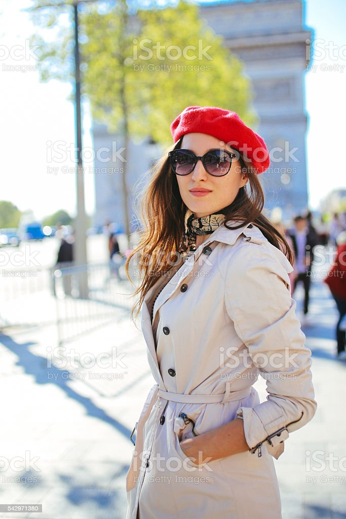Portrait of a young tourist woman walking in Paris stock photo