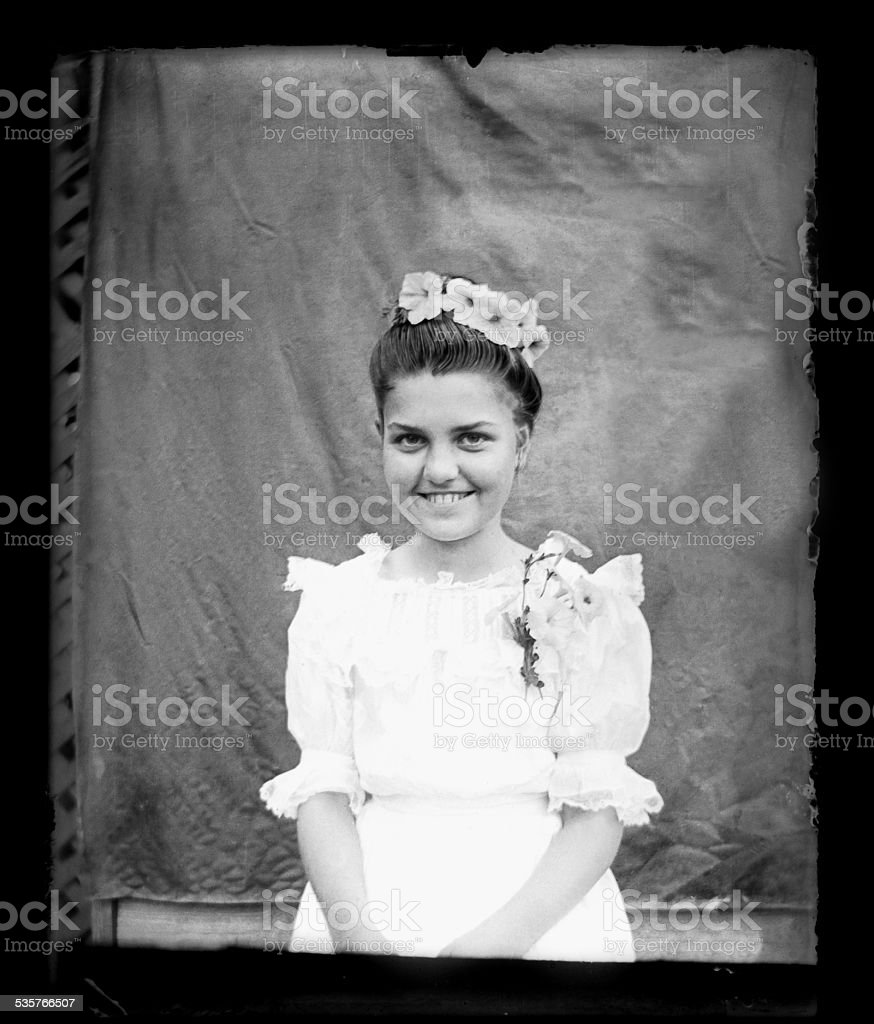 Portrait of a young, Victorian-era, Woman stock photo