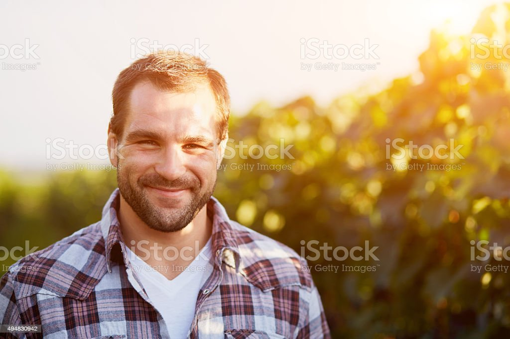 Portrait of a young winemaker stock photo