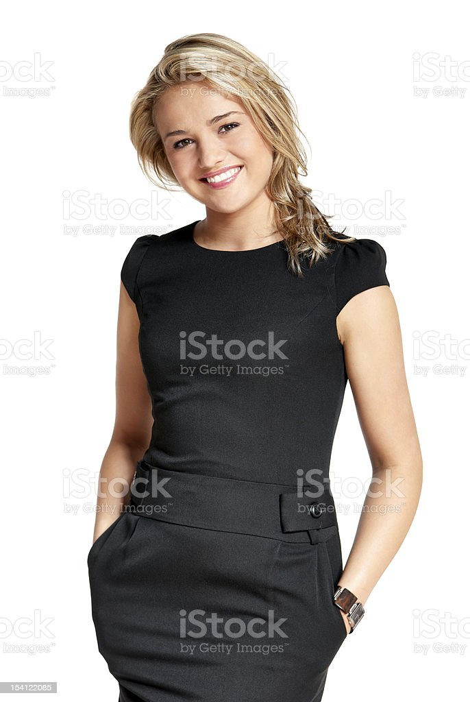 Portrait of a young woman in a black dress stock photo