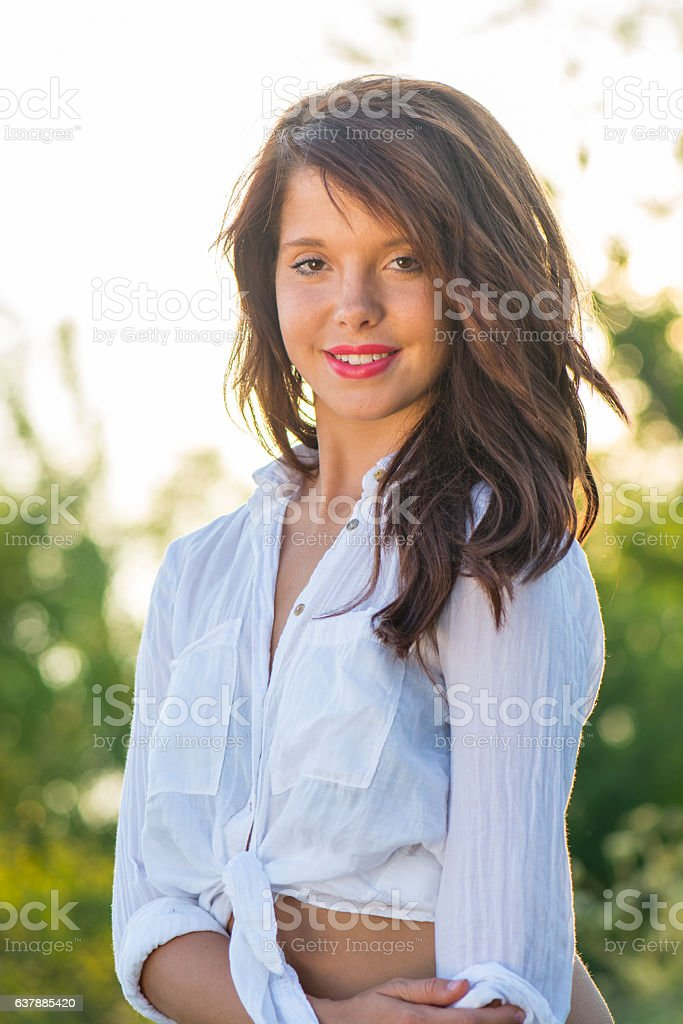 Portrait of a young woman in Indian Summer stock photo