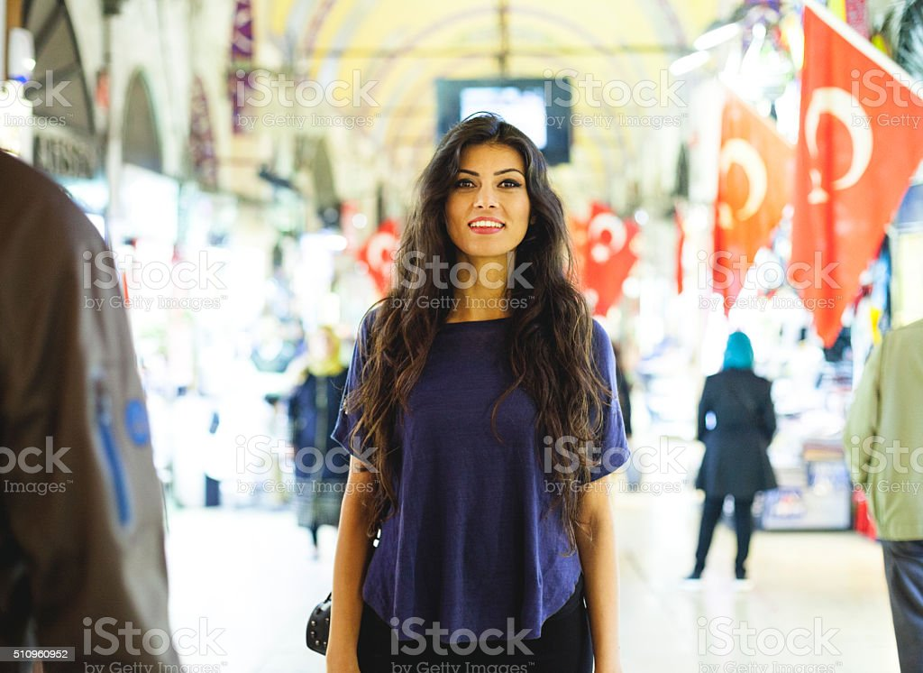 Portrait of a Young Woman in Indoors Market stock photo