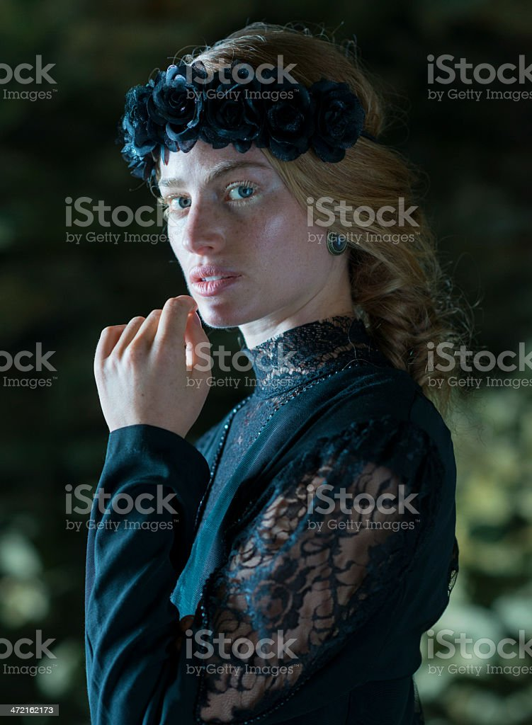 Portrait Of A Young Woman In Mourning royalty-free stock photo
