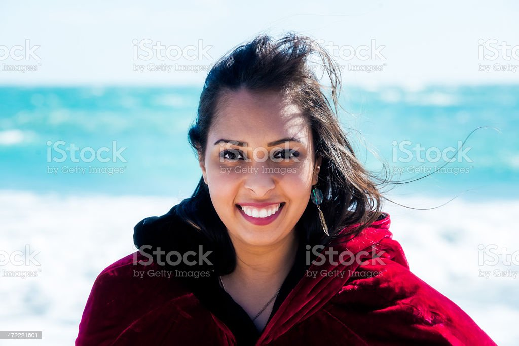 Portrait of a Young Woman on Vero Beach stock photo