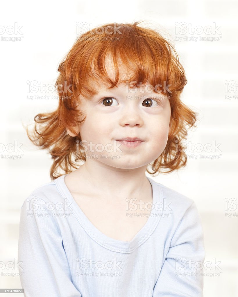 Portrait of adorable red haired boy. royalty-free stock photo