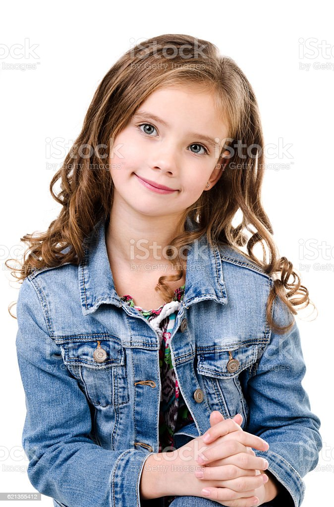 Portrait of adorable smiling  little girl isolated stock photo