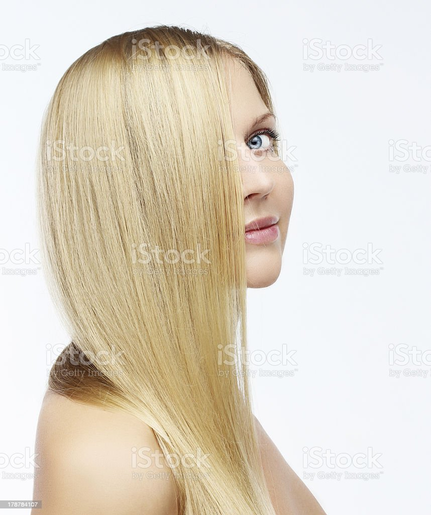 Portrait of adorable young woman with long blond hair. royalty-free stock photo