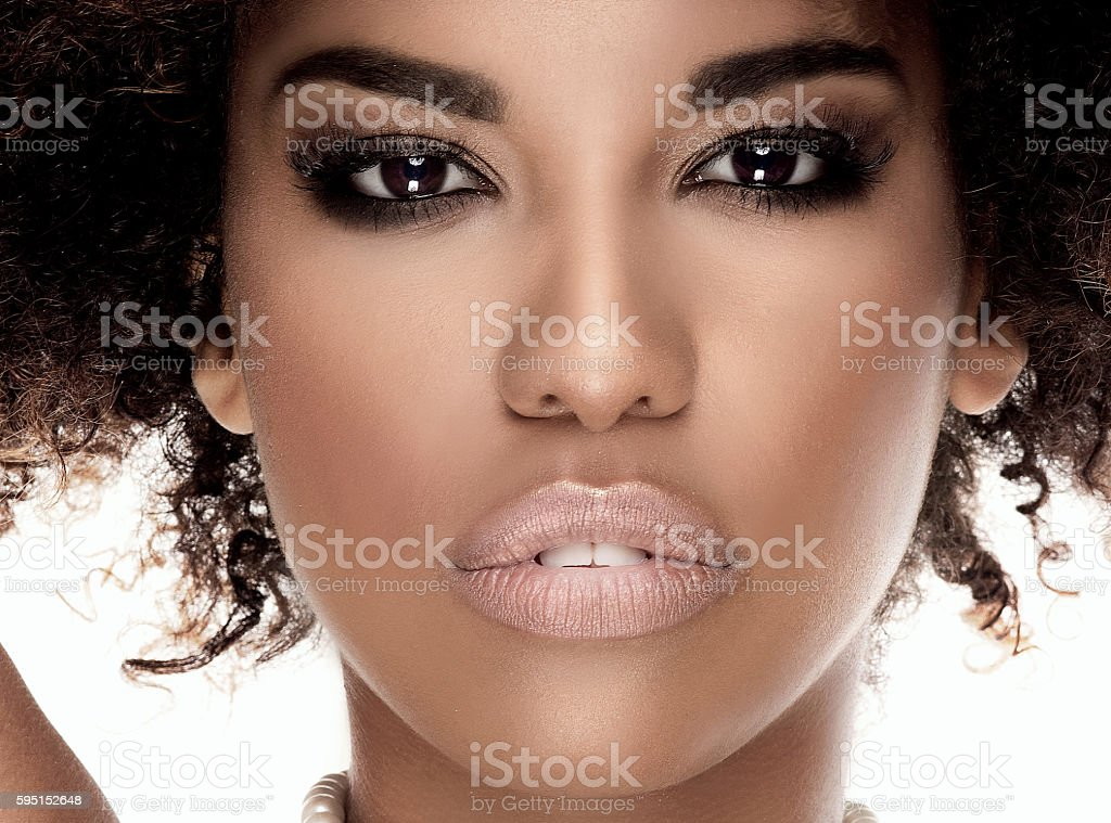 Portrait of african american girl in pearls. stock photo