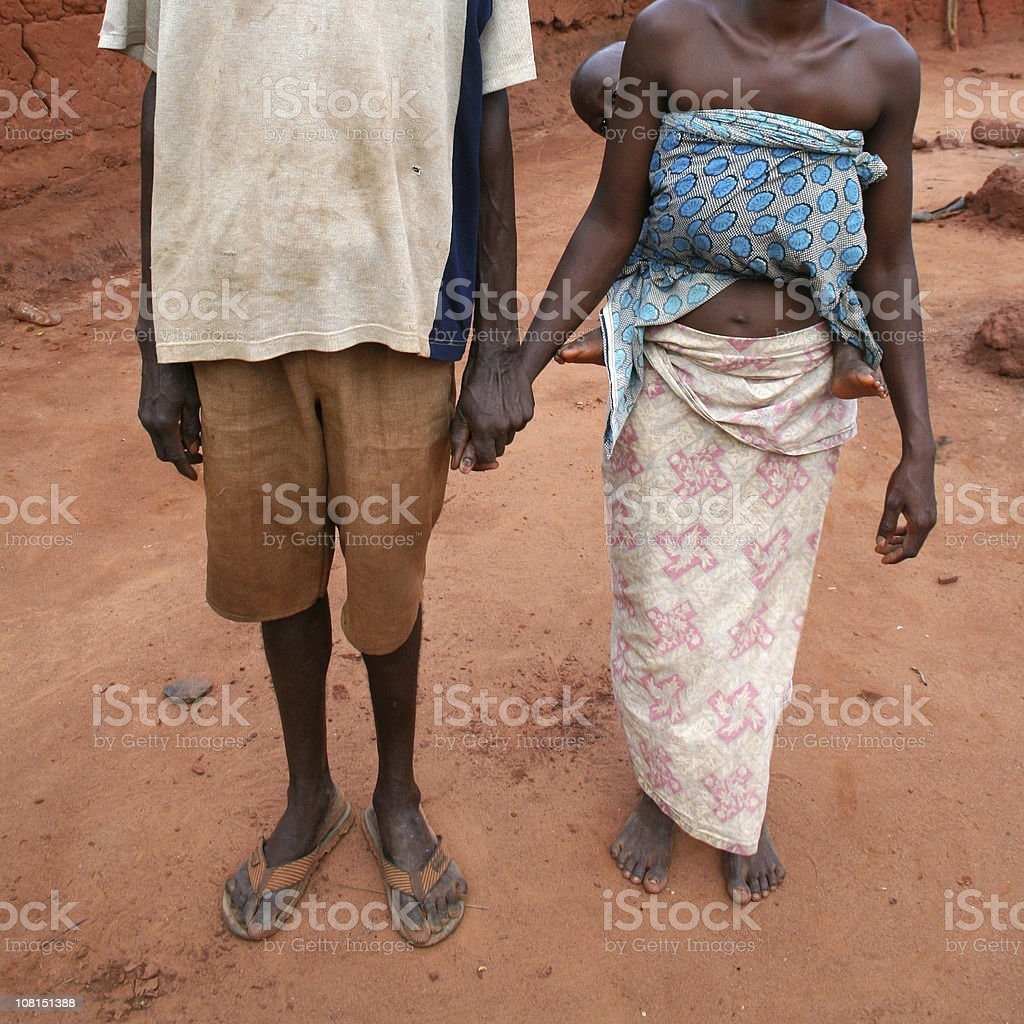 Portrait of African Family Holding Hands royalty-free stock photo