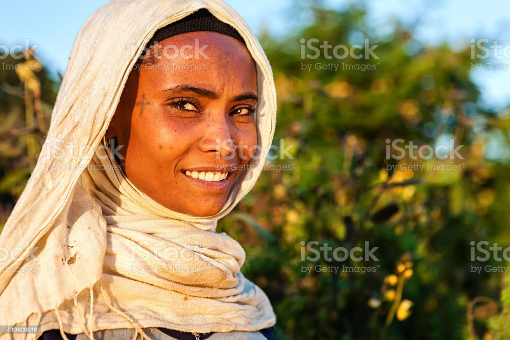 Portrait of  African woman, East Africa stock photo