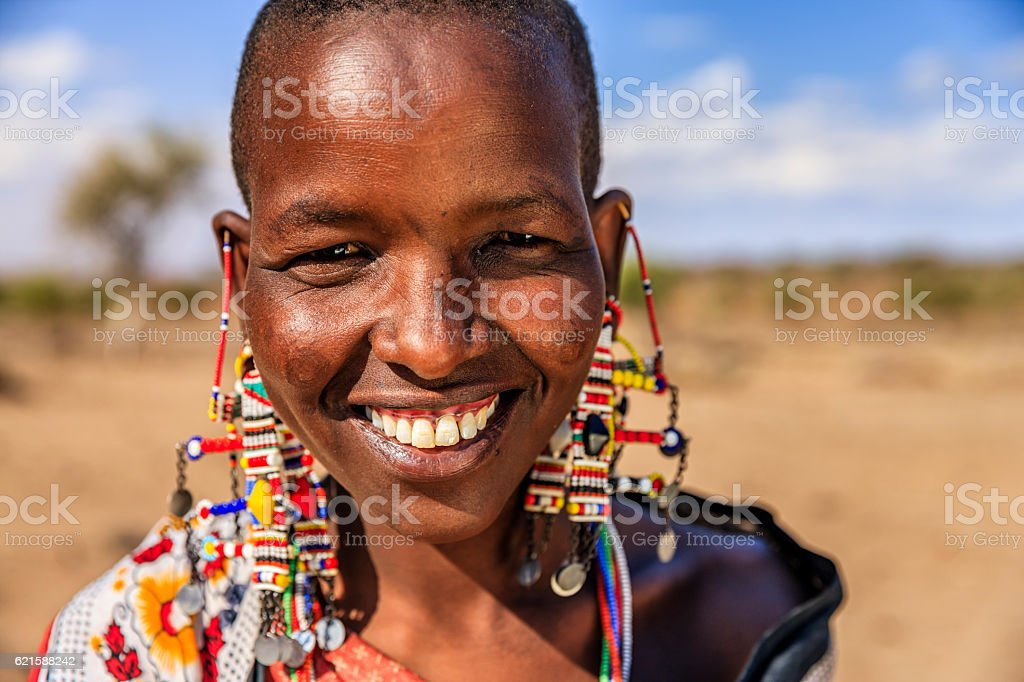 Portrait of African woman from Maasai tribe, Kenya, Africa stock photo