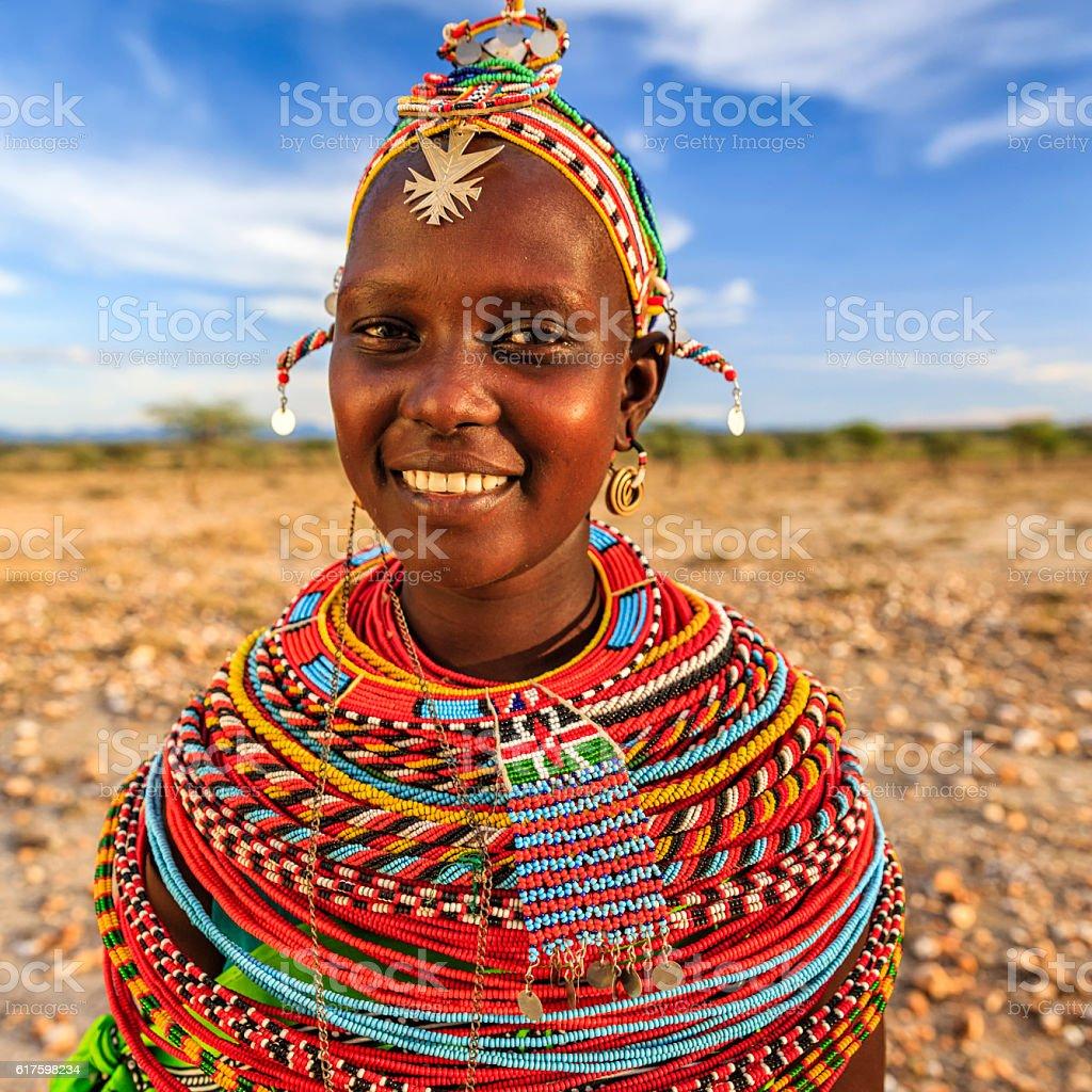Portrait of African woman from Samburu tribe, Kenya, Africa stock photo