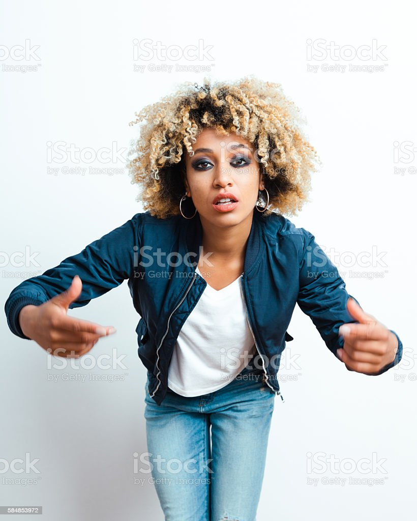 Portrait of afro american young woman stock photo