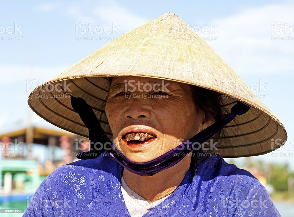Portrait of aged Asian woman wearing traditional conical hat, Vietnam stock photo