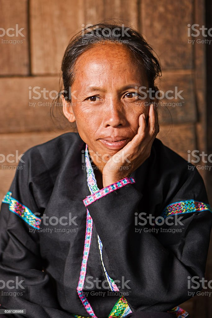 Portrait of Akha woman in Northern Laos stock photo