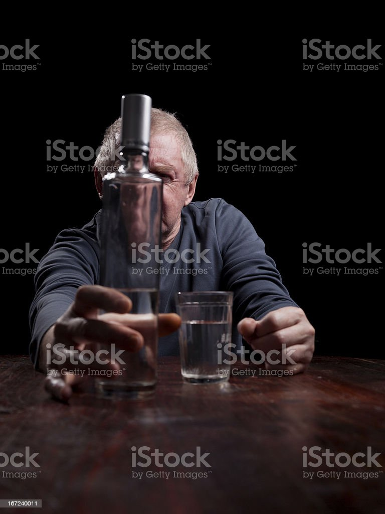 portrait of alcoholic senior man royalty-free stock photo