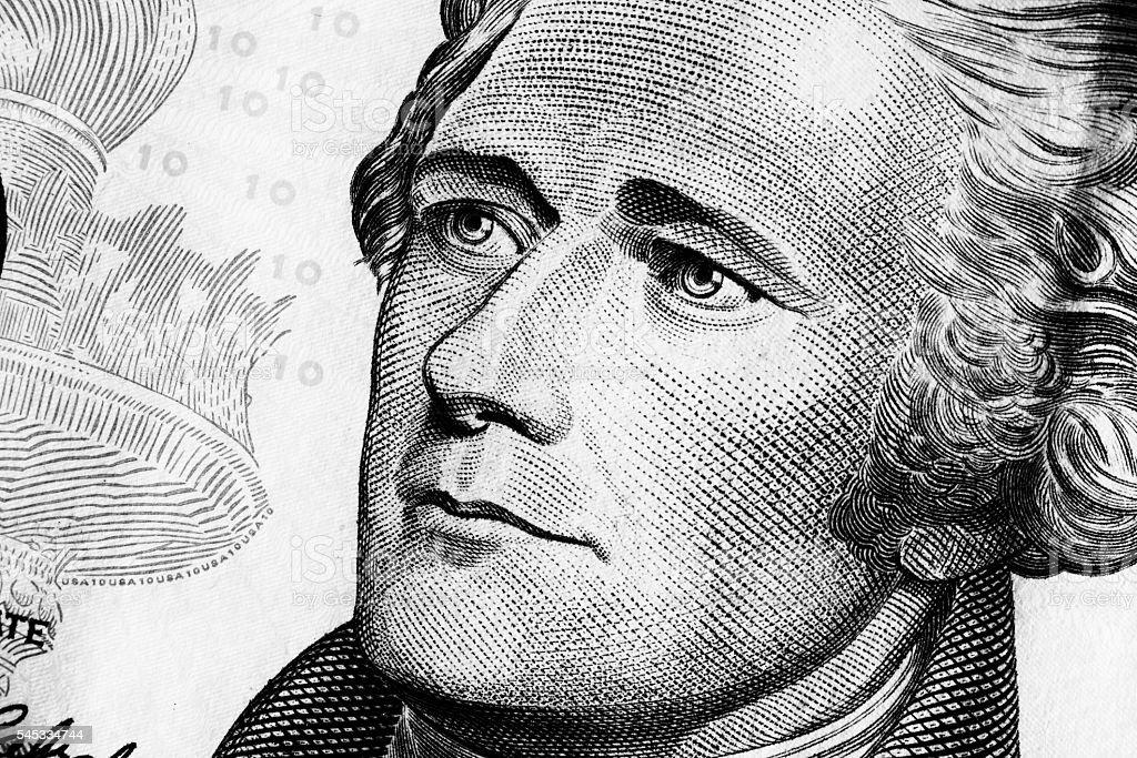 Portrait of Alexander Hamilton on the Ten dollars bill stock photo