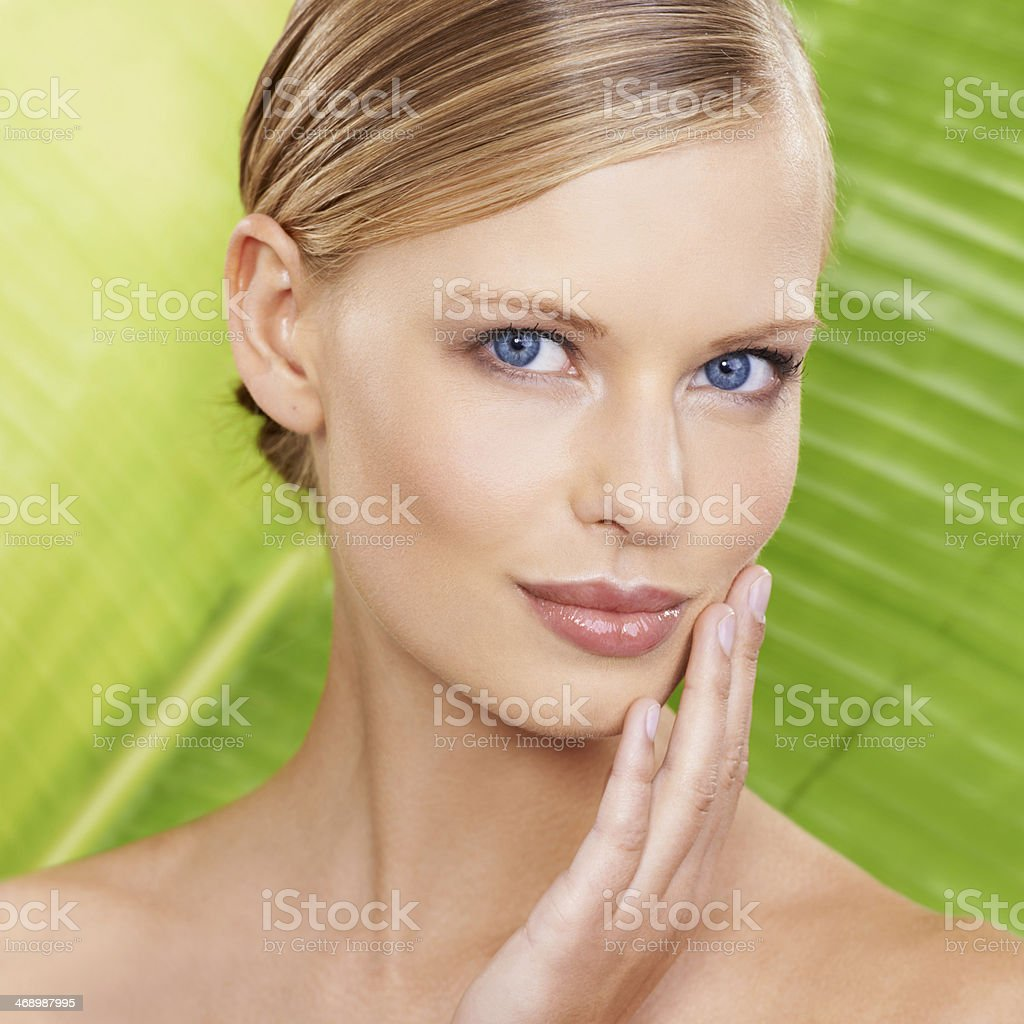 Portrait of all natural beauty stock photo