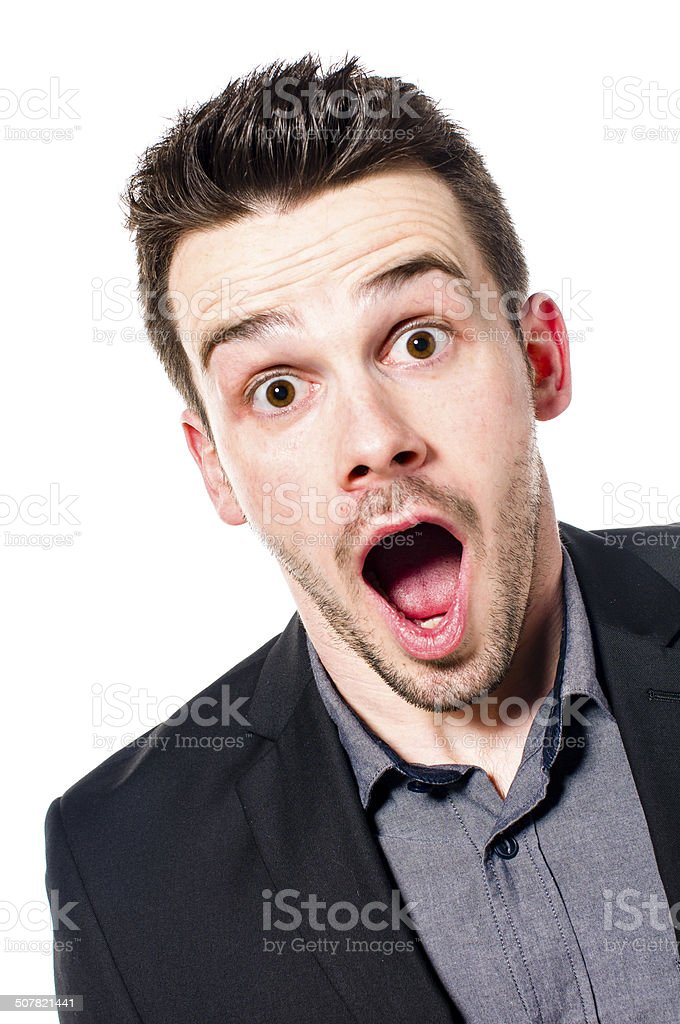 Portrait of amazed businessman stock photo