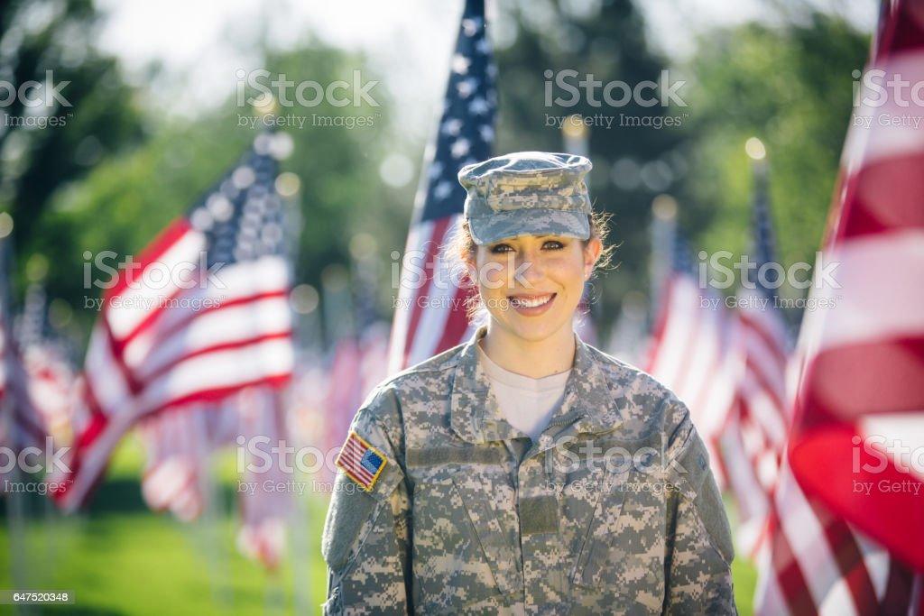 Portrait of American female soldier stock photo