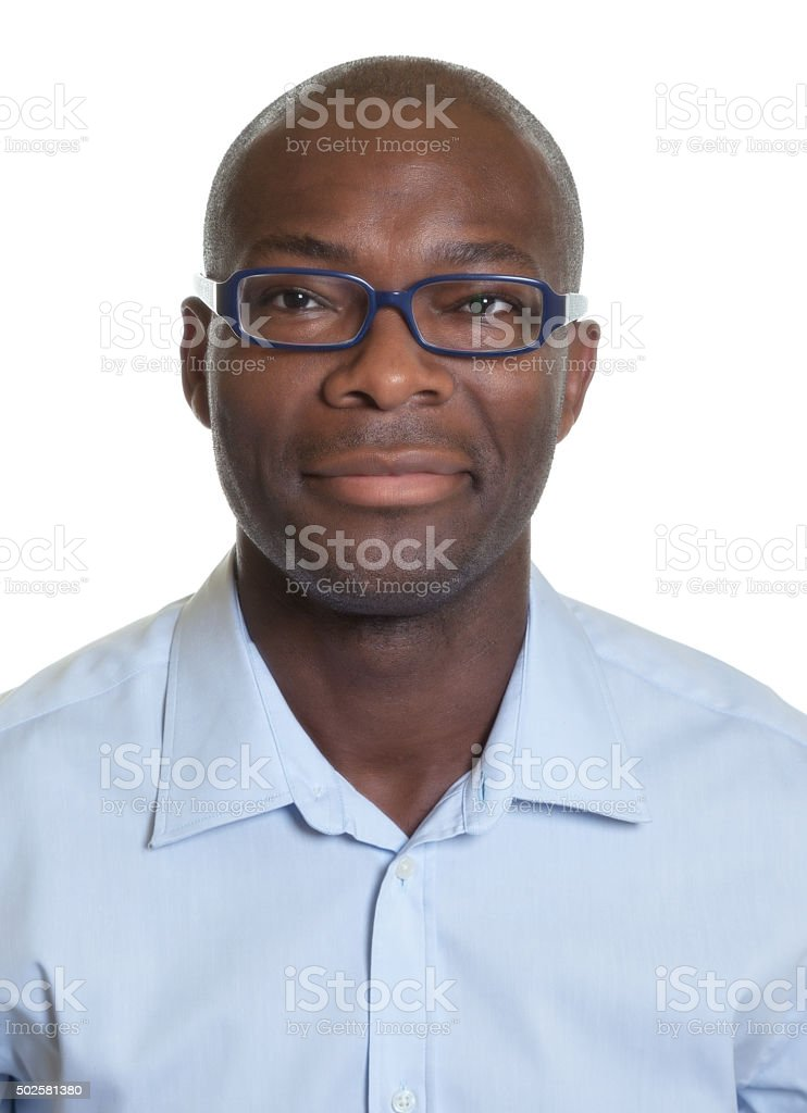Portrait of an african american man with glasses stock photo