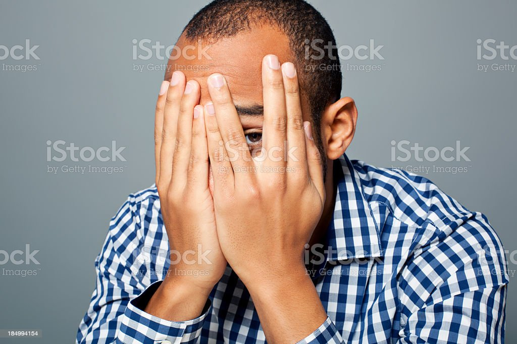 Portrait of an african american with fear royalty-free stock photo