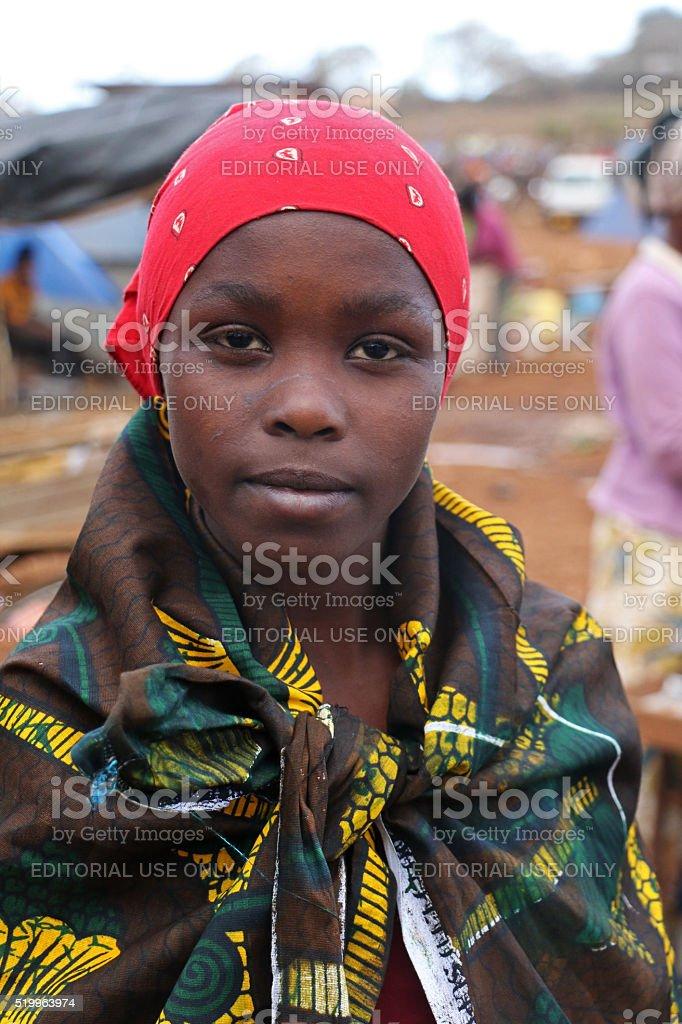 Portrait of an African woman at Karatu Iraqw Market, Tanzania stock photo