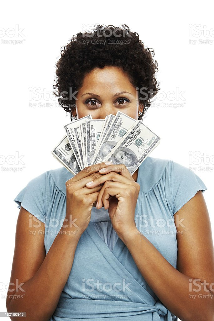 Portrait of an African woman holding US paper currency stock photo