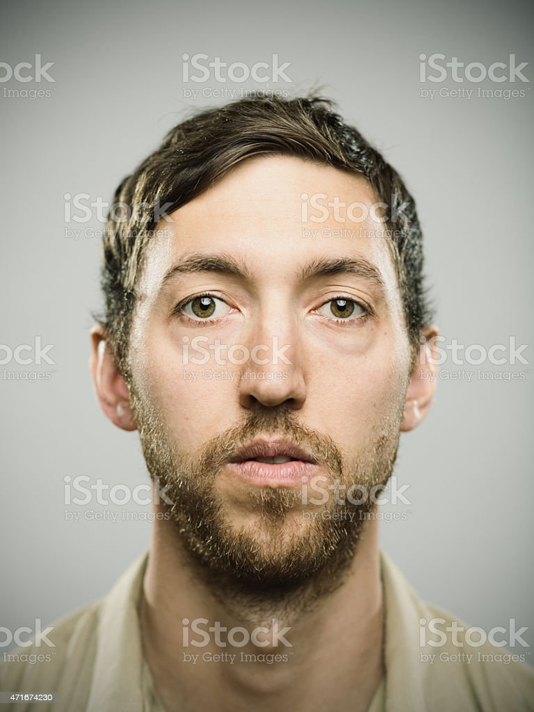 Portrait of an american real man stock photo