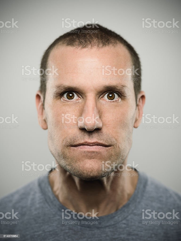 Portrait of an american real man. stock photo