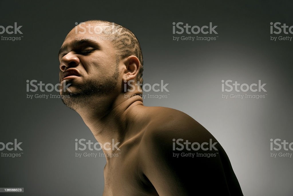 Portrait of an angry looking African American man. royalty-free stock photo