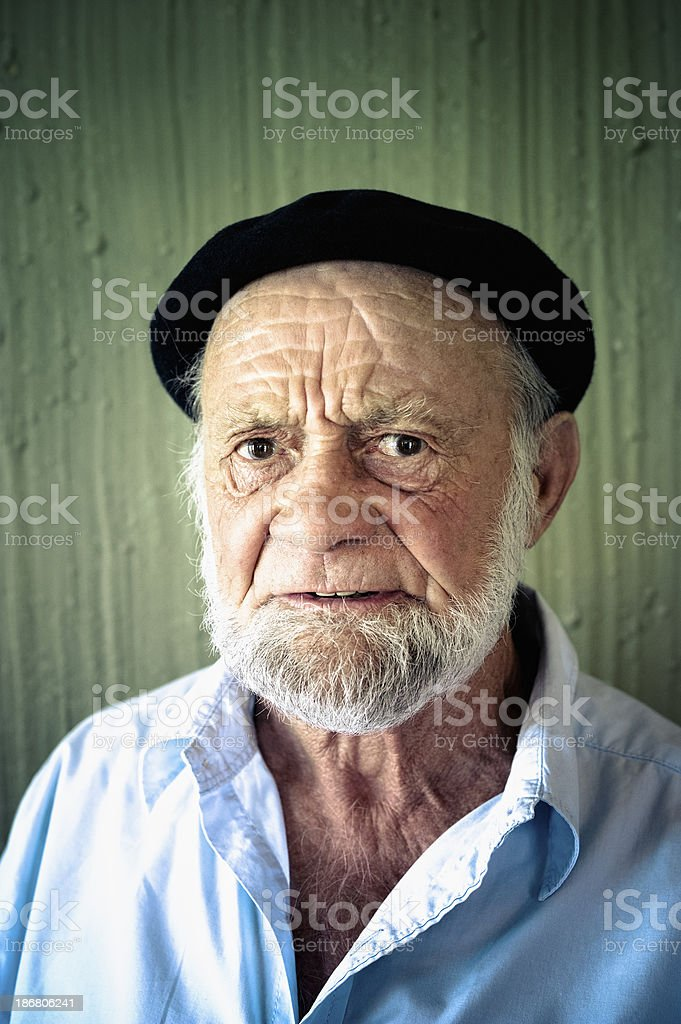 Portrait of an Angry Old Man stock photo