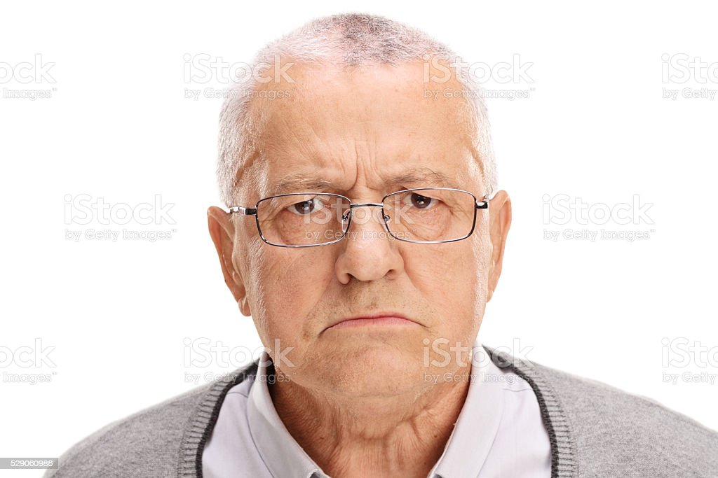 Portrait of an angry senior stock photo