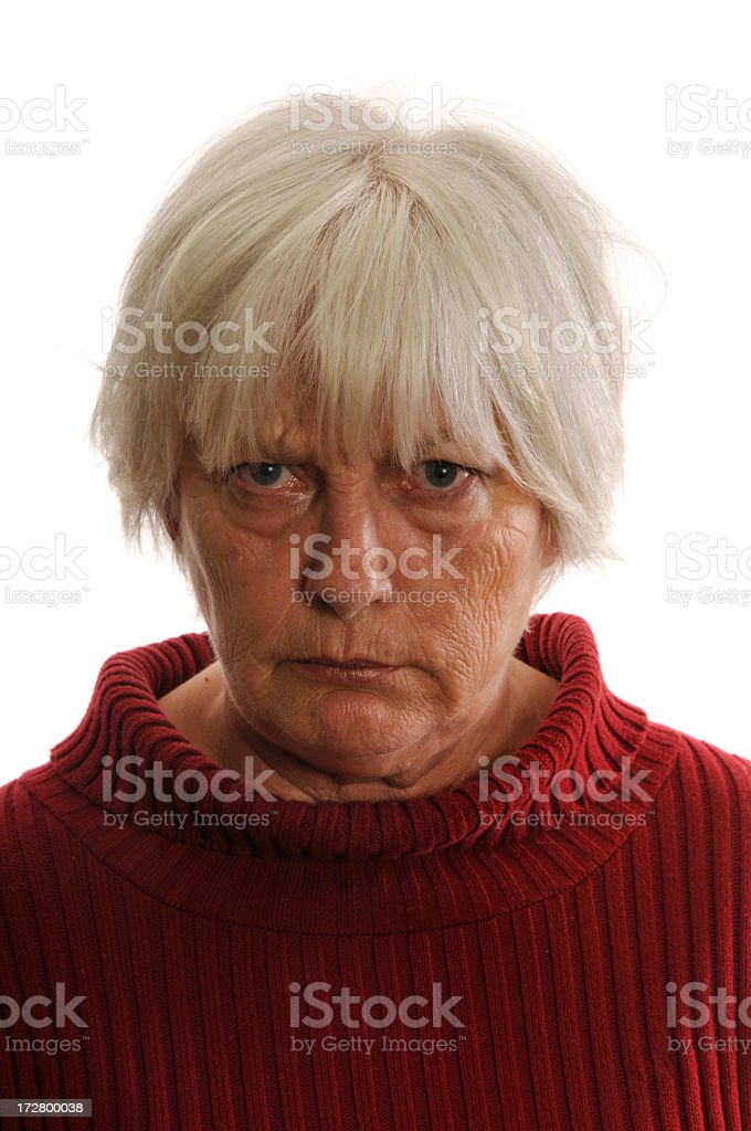 Portrait of an angry senior woman royalty-free stock photo