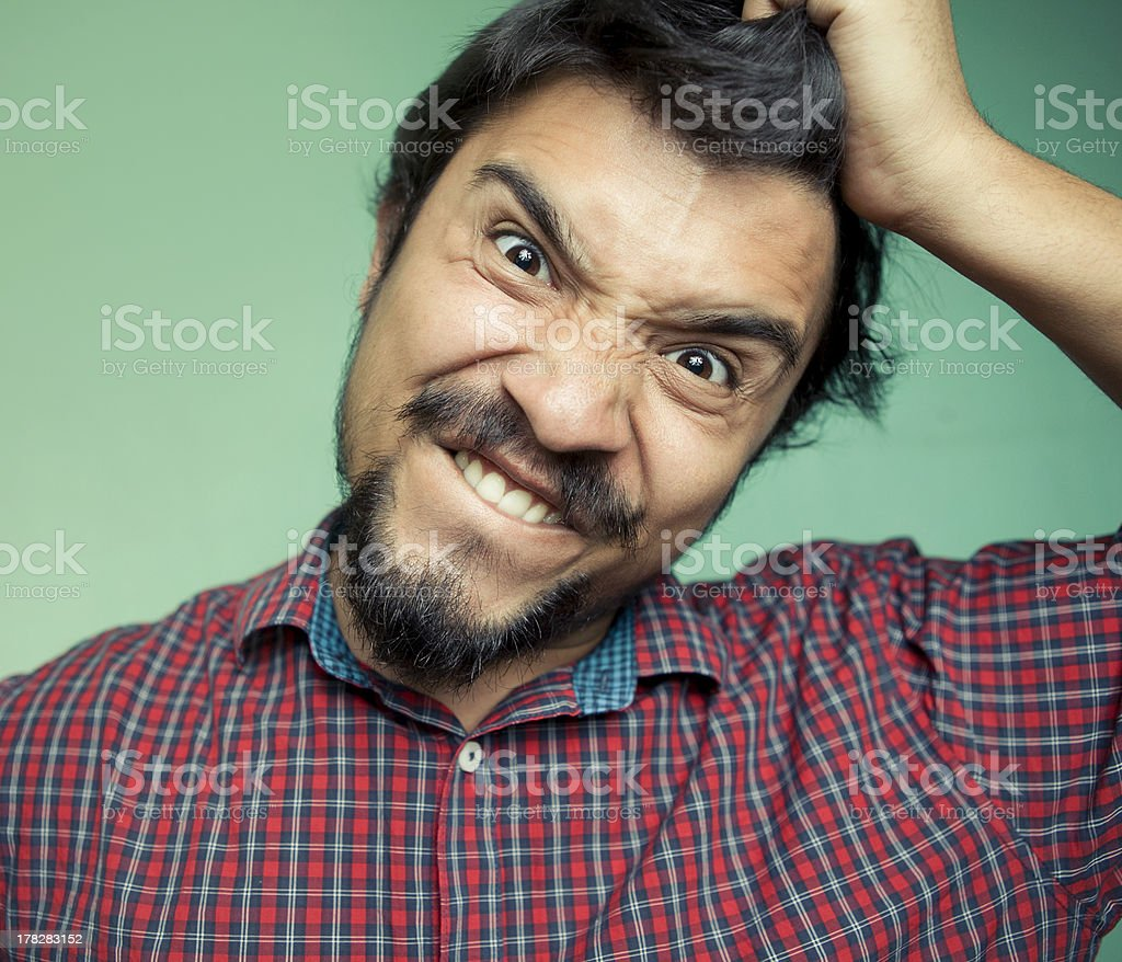 Portrait of an angry/frustrated young man. stock photo