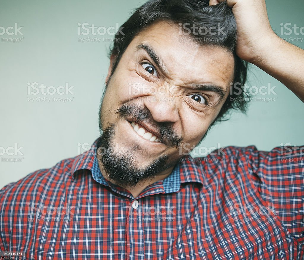 Portrait of an angry/frustrated young man. royalty-free stock photo