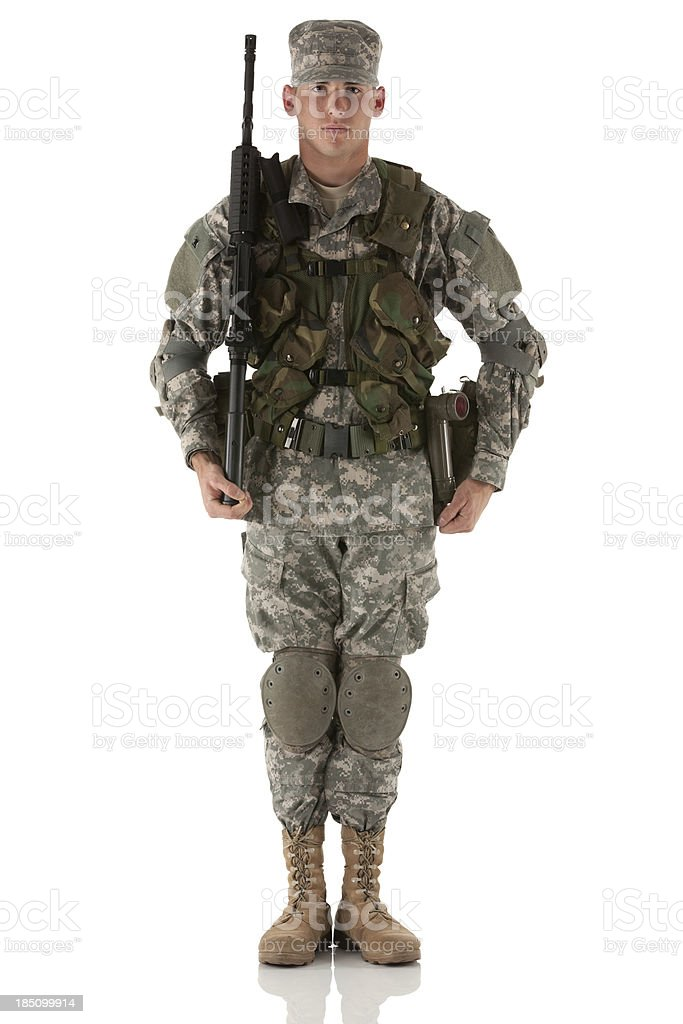 Portrait of an army man with a rifle royalty-free stock photo