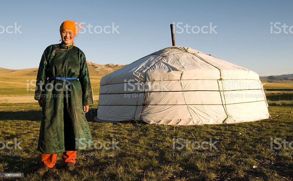 A portrait of an Asian female and her home stock photo