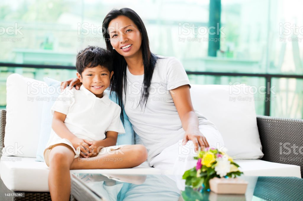 Portrait of an Asian mother and son. royalty-free stock photo