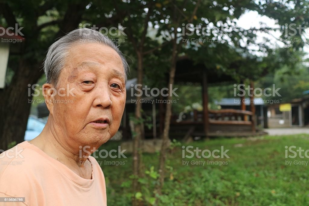 Portrait of an Asian old man stock photo